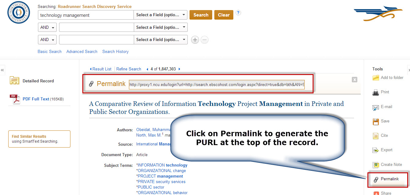 Screenshot of an article detailed record screen in Roadrunner with the Permalink button and field highlighted.