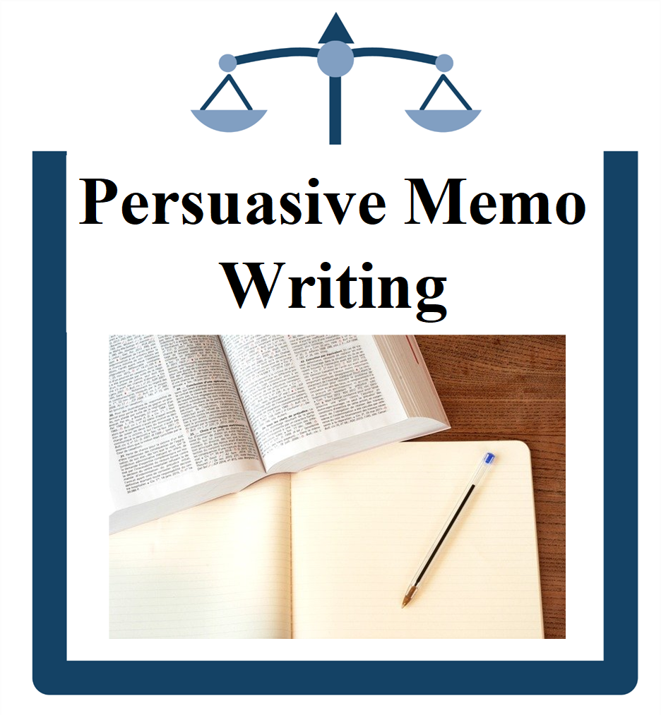 Persuasive Memo Writing picture of books, pen, and paper