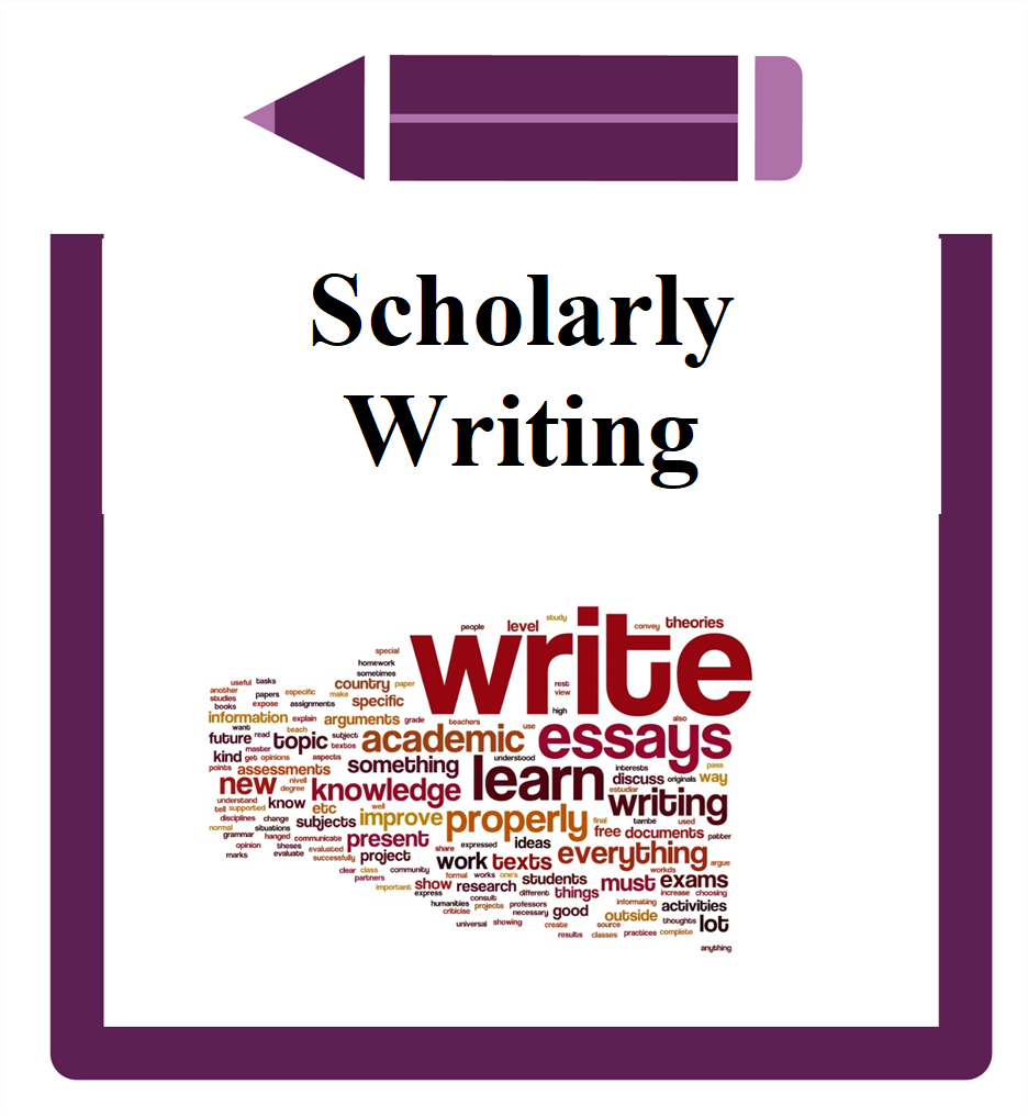Scholarly Writing icon word cloud with words about writing
