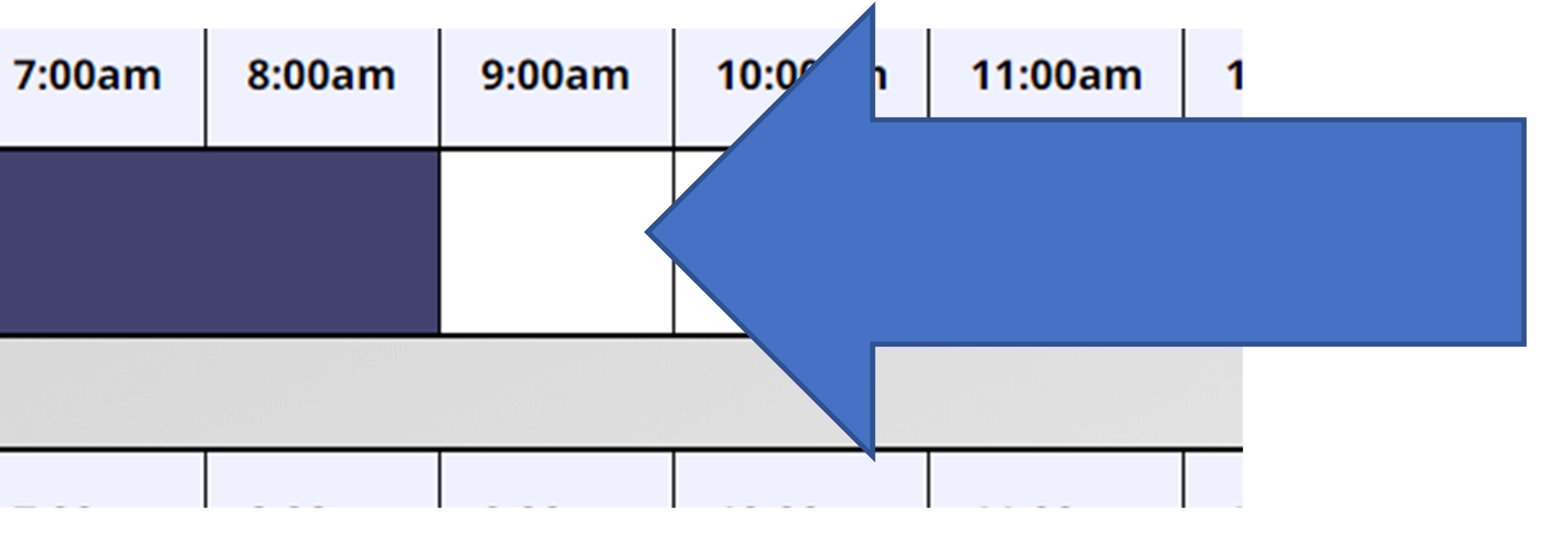 Select Appointment Arrow pointing to appointment box