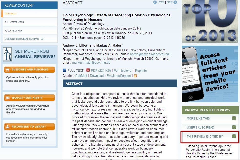 "Annual Reviews article record screen with the ""This Review is Cited By"" link highlighted."