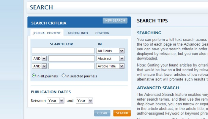 Screenshot of the Annual Reviews search screen.