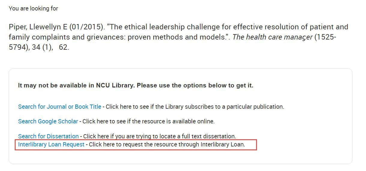 Article Linker page with the Interlibrary Loan Request link highlighted.