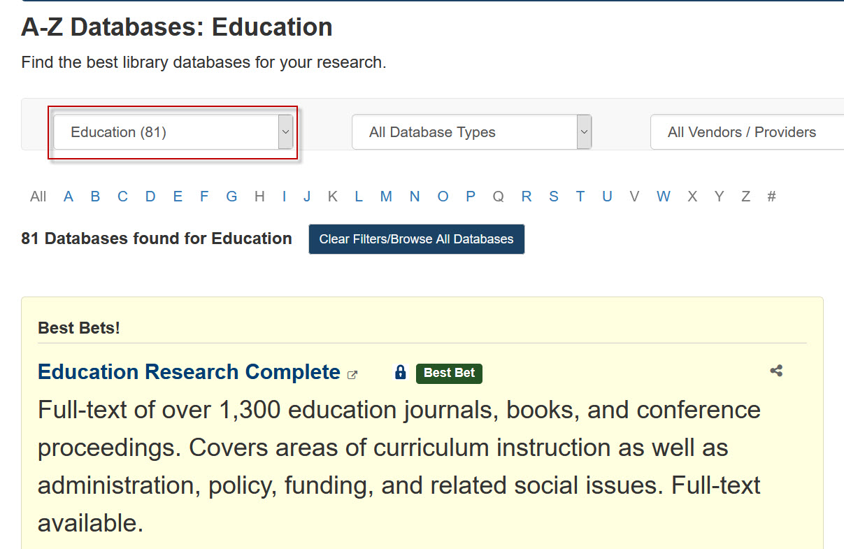 Screenshot of the A-Z Databases page with the subject Education selected.