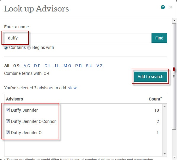 "ProQuest Dissertations & Theses ""Look up Advisors"" screenshot."