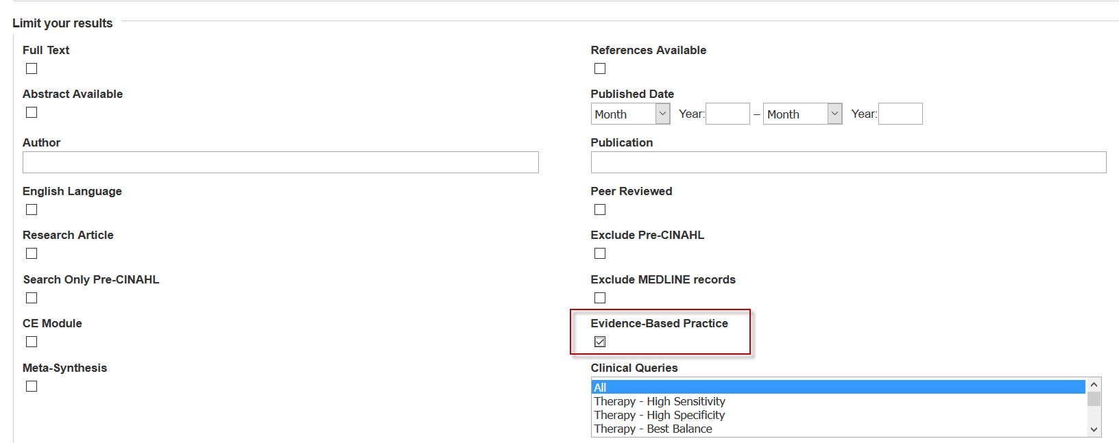 Screenshot of CINAHL Advanced Search with Evidence-Based Practice highlighted.