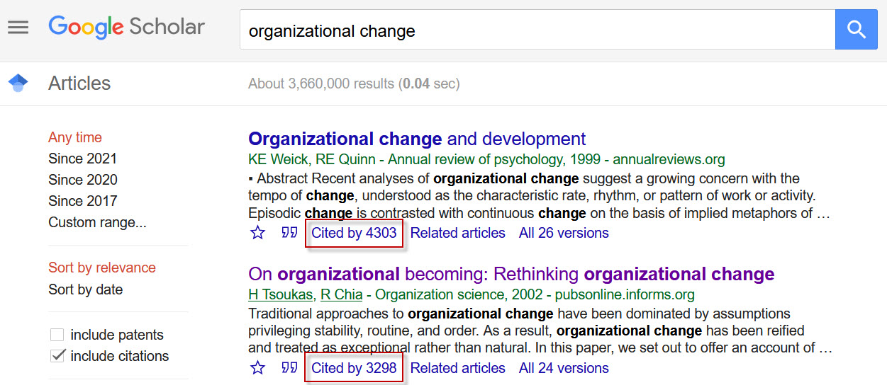 Google Scholar screenshot showing the citing articles.
