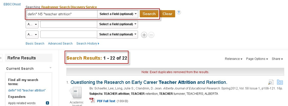 Example of a proximity search using Roadrunner Advanced Search.