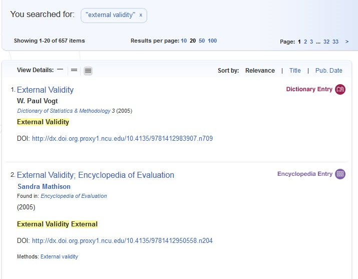SAGE Research Methods search results screen.