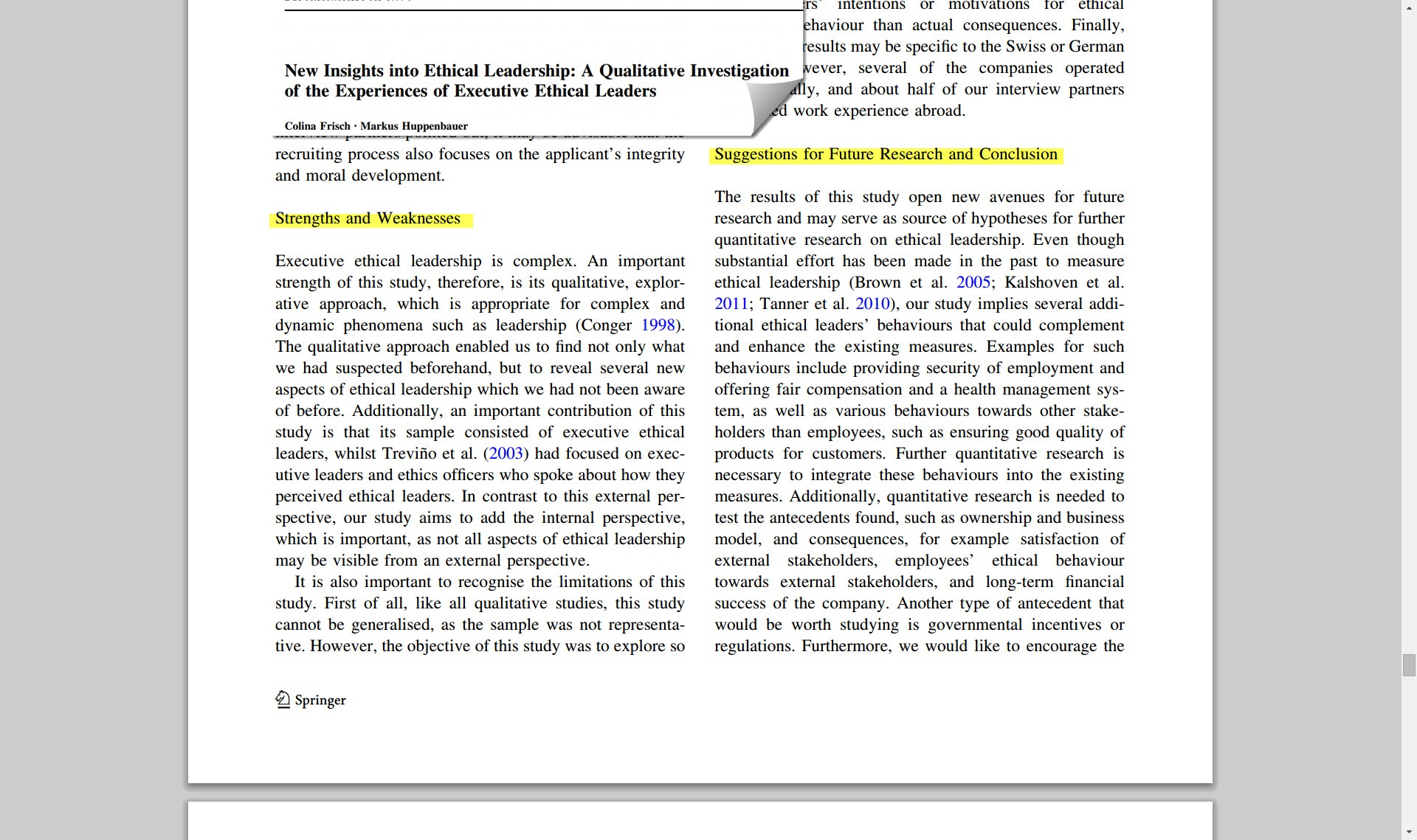 "Screenshot of an article PDF with the ""Suggestions for Future Research and Conclusion"" section highlighted."