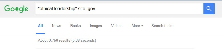 "Google basic search screen showing terms ""ethical leadership: site:.gov"