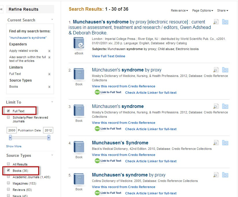 Roadrunner Search results screen with Books selected under the Source Types limiter.