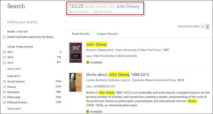 Ebook Central search results screen for John Dewey.
