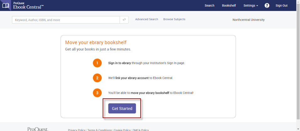 """Screenshot of the """"Move your ebrary bookshelf"""" page in Ebook Central with the Get Started button highlighted."""