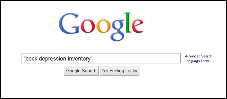 "Google search screen with an example search for ""beck depression inventory."""