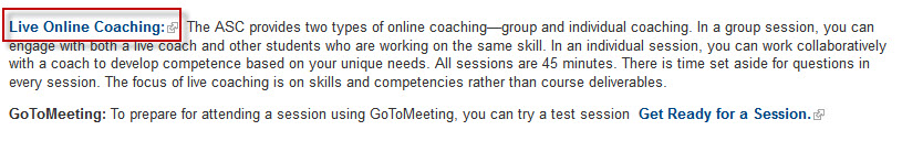 ASC website screenshot with the Live Online Coaching link highlighted.