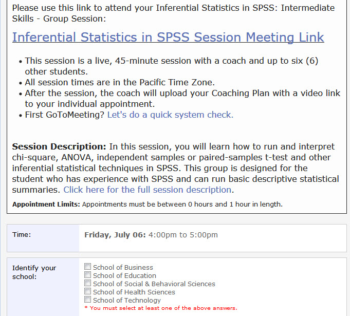 Screenshot showing the group session regislation link.