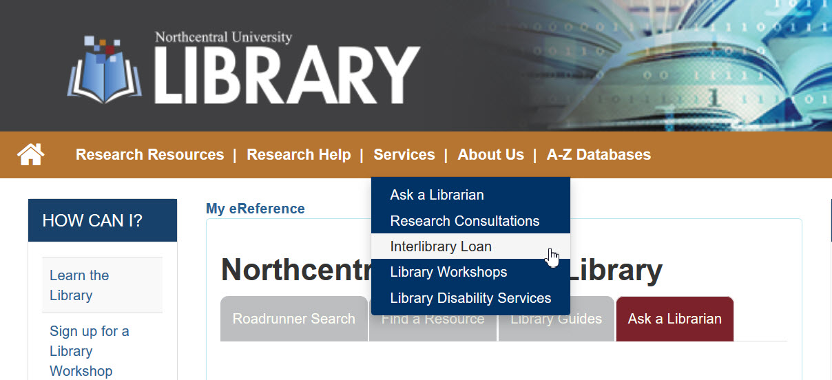 Screenshot of Library homepage with Interlibrary Loan selected under the Services menu.