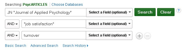 PsycARTICLES Advanced Search screen showing an example search within a particular journal.