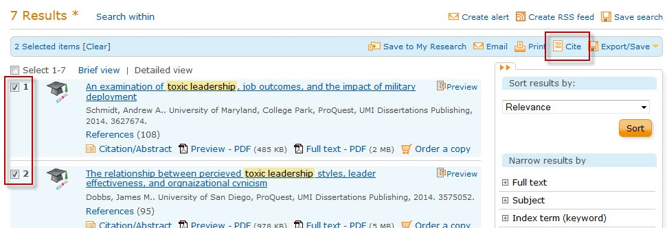ProQuest search results screen with the Cite button highlighted.