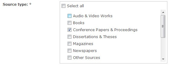 "ProQuest Advanced Search screen with ""Conference Papers & Proceedings"" selected under Source type."