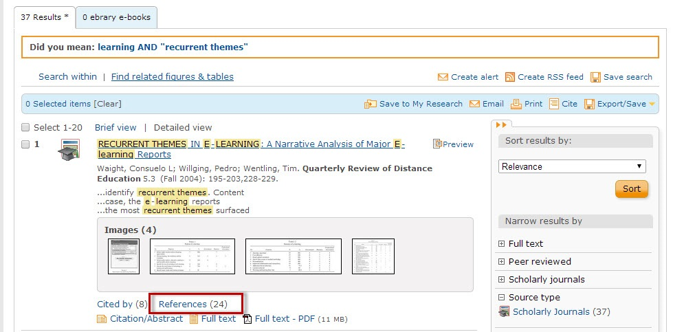 ProQuest search results sceen with the References link highlighted.