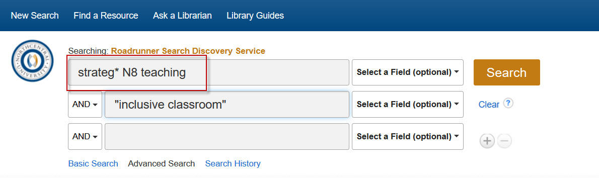 Screenshot of Roadrunner Advanced Search with an example proximity search.