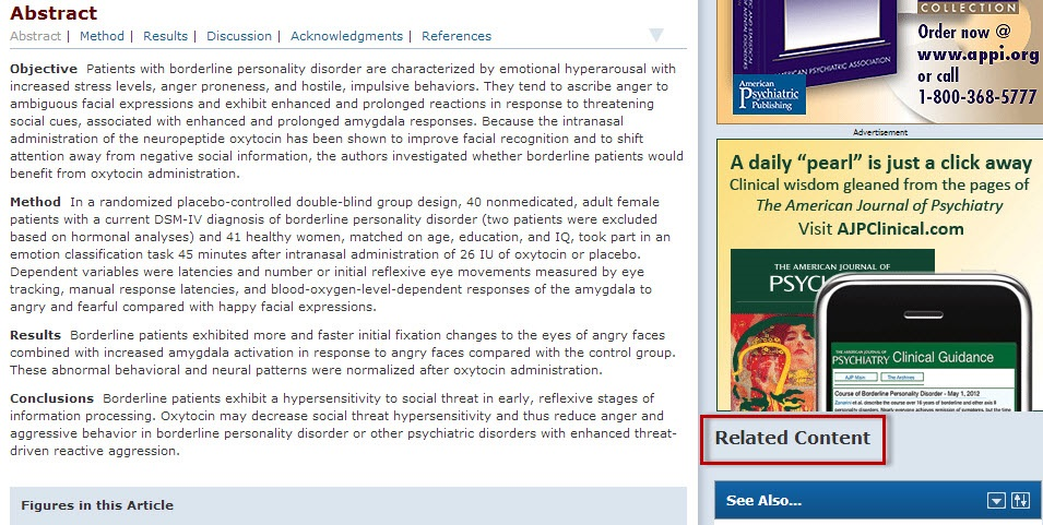 PsychiatryOnline article record screen with the Related Content section highlighted.