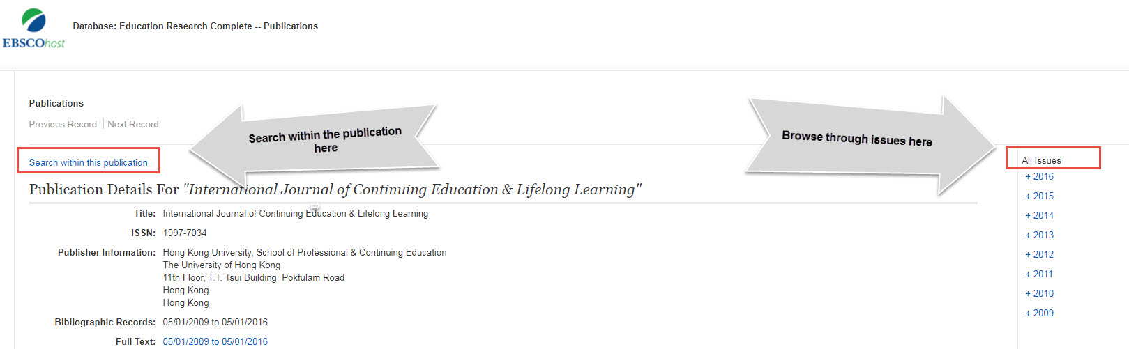 Screenshot of the publication details page for the International Journal of Continuing Education & Lifelong Learning.