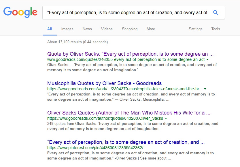 Google search showing results for quote search