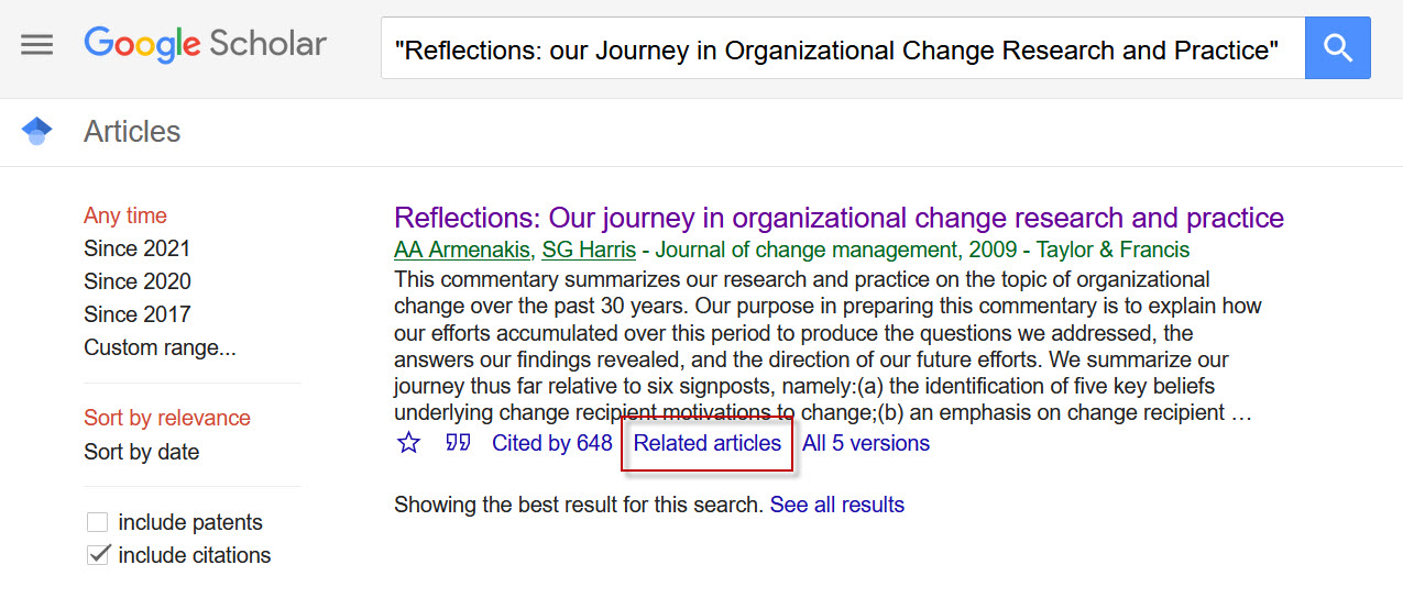 Screenshot showing the related articles feature in Google Scholar.