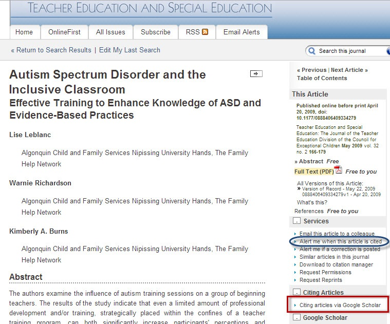 "SAGE Journals Online article record screen with the ""Citing articles via Google Scholar"" link highlighted."