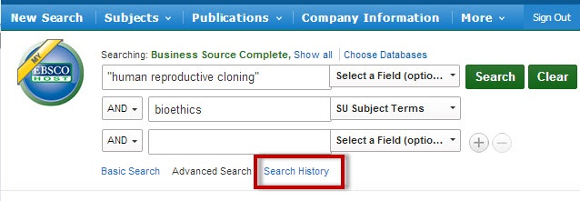 EBSCO search results screen with the Search History link highlighted.