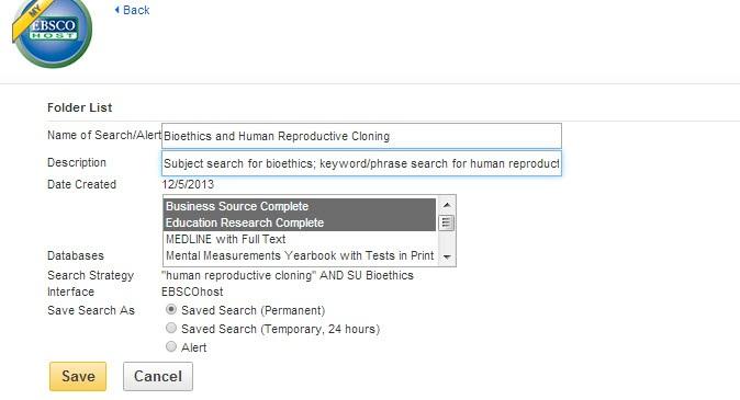 EBSCO Search/Alert screenshot.