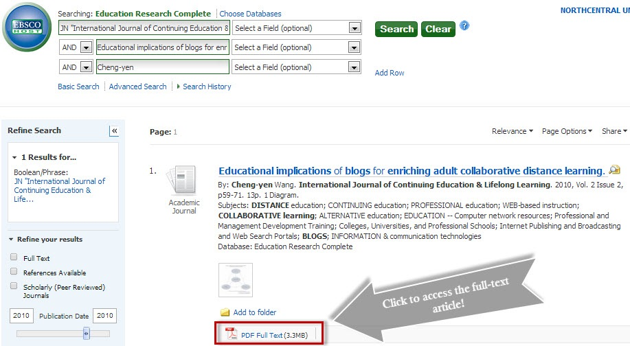 Education Research Complete Advanced Search screen showing example search by journal.