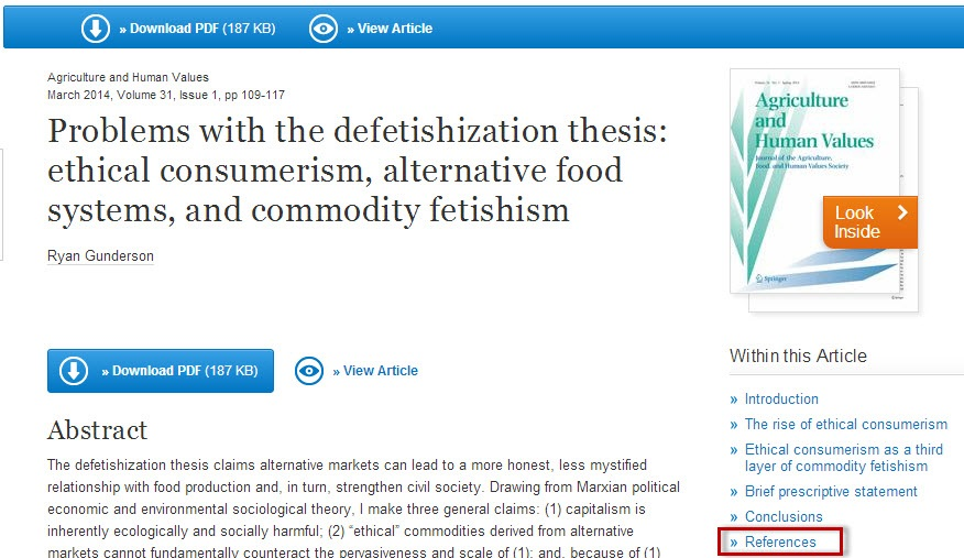 SpringerLink article record sceen with the References link highlighted.