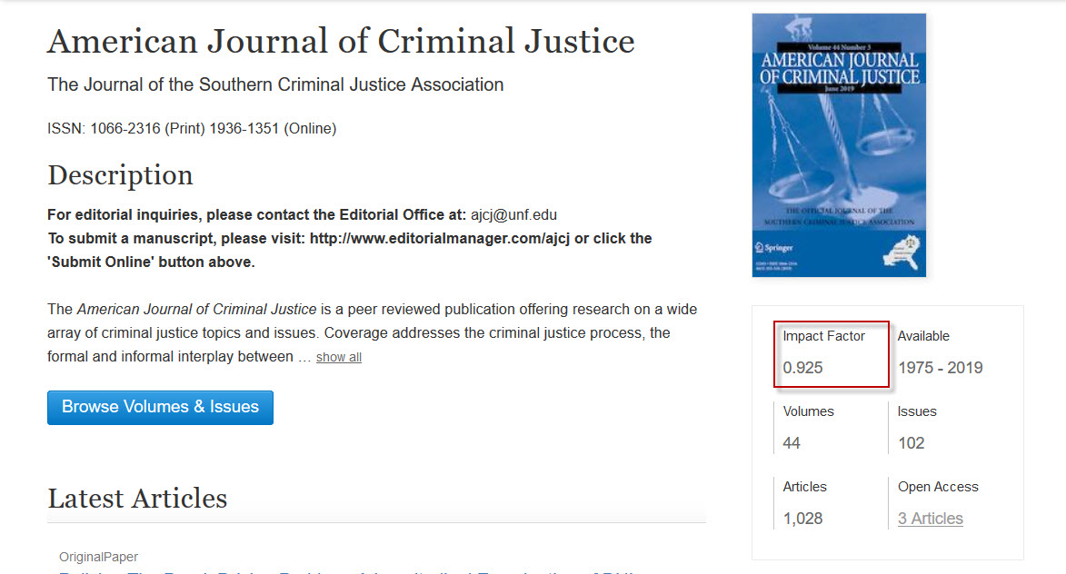 Screenshot of journal page in SpringerLink with impact factor highlighted.