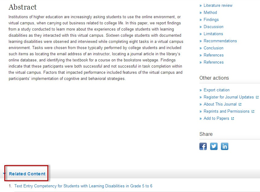 SpringerLink article record screen with the Related Content section highlighted.