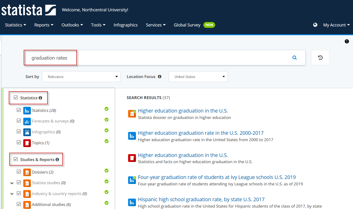 Screenshot showing Statista search results screen