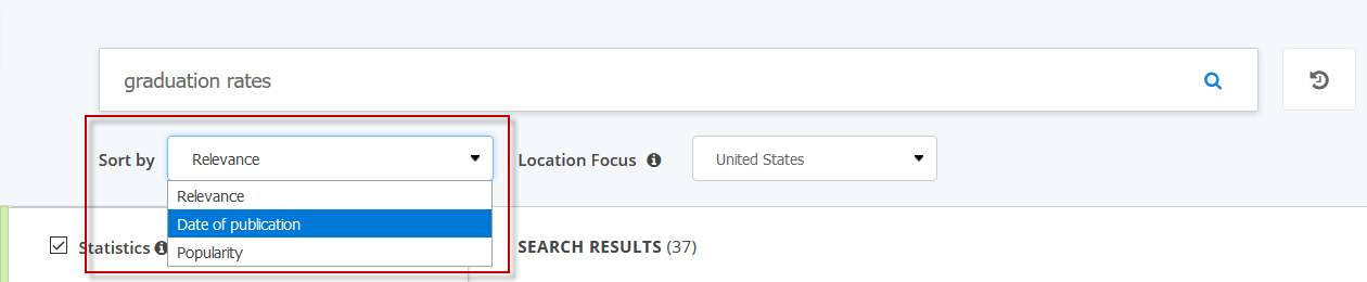 Screenshot showing the sort feature on the Statista search results.