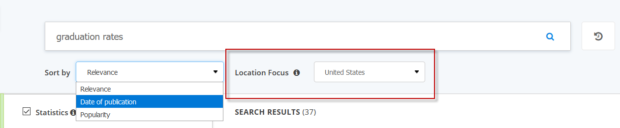 Screenshot showing the location focus filter in Statista
