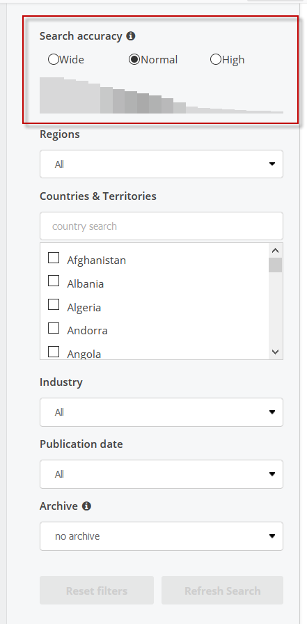 Screenshot showing the search accuracy feature in Statista