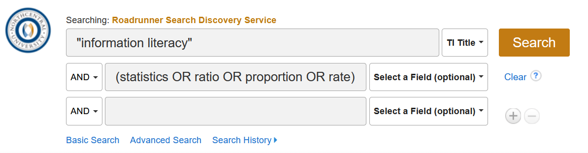 "Screenshot of a Roadrunner search for  TI ""information literacy"" AND ( (statistics OR ratio OR proportion OR rate) )"
