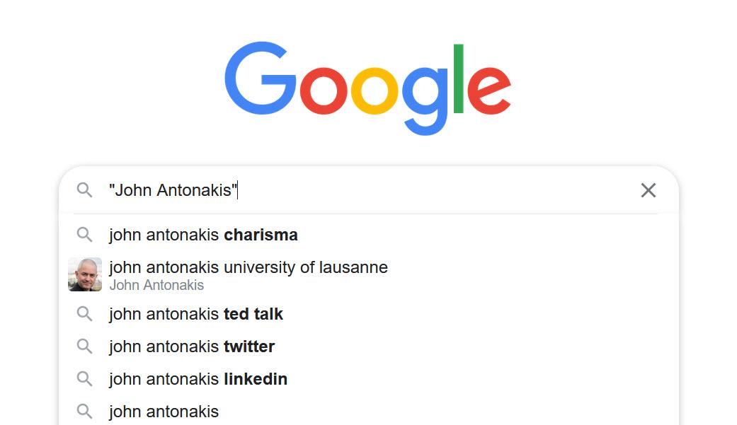 "Google search box showing phrase search for author name ""John Antonakis"""