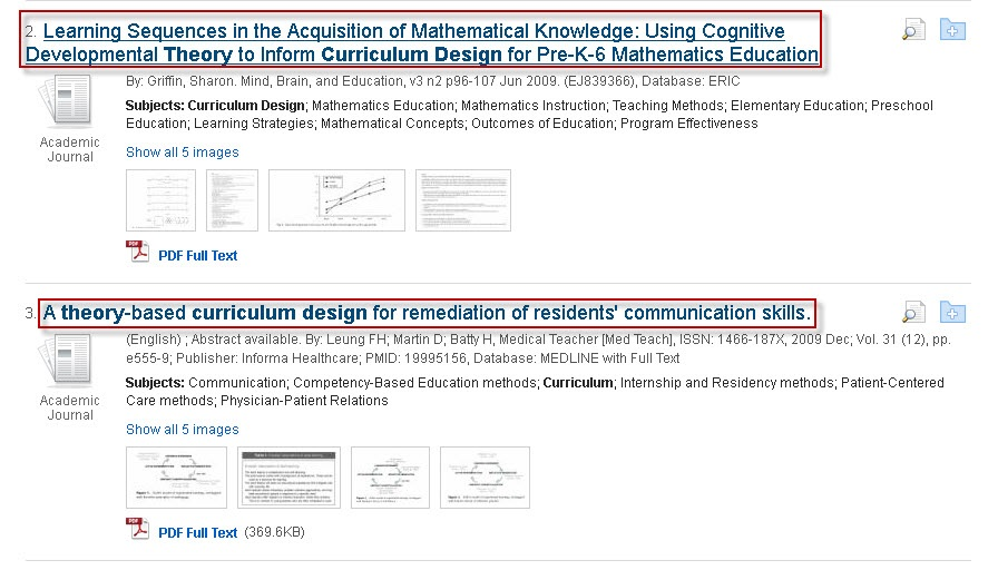 Roadrunner Search results screen showing article titles related to theory.
