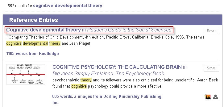 Credo Reference search results screen for cognitive developmental theory.