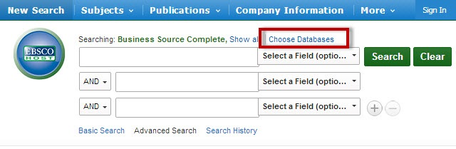 EBSCO screenshot with the Choose Databases link highlighted.