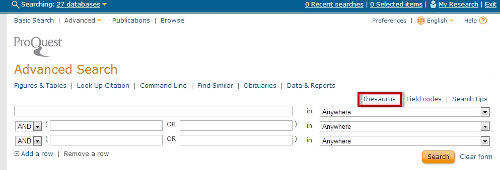 ProQuest screenshot with the Thesaurus link highlighted.