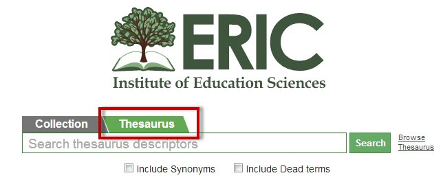 ERIC screenshot with the Thesaurus tab highlighted.