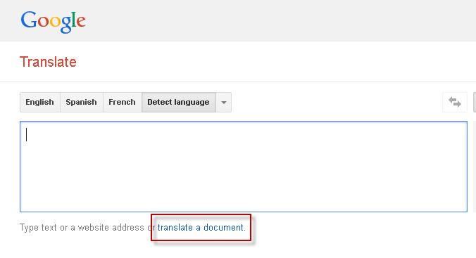 "Google Translate screenshot wtih the ""translate a document"" link highlighted."